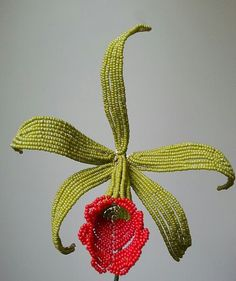 French beaded flower Green Cattleya orchid beaded by MarkingTime