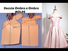 Vestido Decote ombro a ombro Fashion Sewing, Diy Fashion, Ideias Fashion, Fashion Dresses, Dress Sewing Patterns, Clothing Patterns, Sewing Clothes, Diy Clothes, Costura Fashion