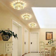 Recessed 3W LED Light Fixture Mini Ceiling Spotlight Crystal - Flush Mount - Ceiling Lights - Lighting