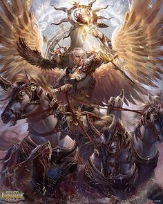 Hélios , Titan du soleil , gardien des serments et du don de la vue . Fils d'Hyperion et de Théia , frère d'Eôs et Séléné . Chaque matin , précédé du char d'Eôs , il s'élançait dans le ciel , sur son char tiré par quatre chevaux blancs et rapides ( Pyroïs , Écos , Aethon et Phlégon ) et parfois ailés . Il fut considéré comme l'inventeur du char a quatre chevaux et surveillait les hommes mais aussi les Dieux . Il participa a la guerre des Dieux contre les Géants et les Titans et sauva…