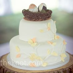 Pretty petite wedding cake with leaves - simple but incorporates color without being too busy.