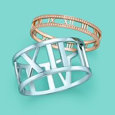 Atlas® bangles, from top: 18k rose gold with diamonds and sterling silver. #TiffanyPinterest