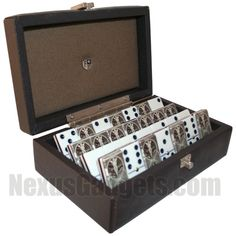 "Genuine Brown Leather D-6 Domino Set.  The finest domino set we have.  Has the Bicycle trademark logo and a ""card"" design on the back.  $149.95 #NexusGadgets"