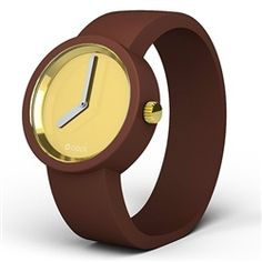 O clock watch - Gold face with Chocolate strap