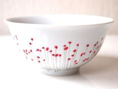 Bowl made of Limoges porcelain - poppy pattern hand painted porcelain bowls breakfast bowl also for apetizer - set of 6 bowls Pottery Plates, Ceramic Pottery, Pottery Art, Pottery Studio, Ceramic Painting, Ceramic Art, Ceramic Plates, Painting Art, Pottery Painting Designs