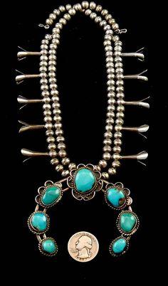 122g Vintage Navajo Sterling Silver Squash Blossom Necklace w