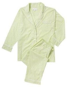 Maya Check Long Pajama Set, Keylime -- Finished in key-lime green gingham with white piping, this pajama set is made of incredibly comfortable, breathable cotton poplin that gets softer with every wash. Using the finest materials in a palette of classic and complementary colors, Marigot's charming and comfortable designs put a fresh, luxurious twist on casual pieces like pajamas and robes. A beautiful Christmas gift idea for anyone and everyone on your list -- mom, sister, best friend…