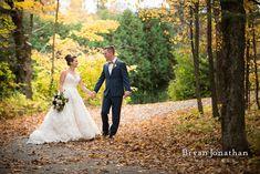 Fall wedding bride and groom portrait.