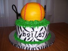 Softball Birthday Cake Combined the Birthday girl's favorite sport with her love of zebra print. My Birthday Cake, 12th Birthday, Birthday Celebration, Girl Birthday, Birthday Ideas, Softball Birthday Parties, Football Birthday, Softball Party, Girls Softball