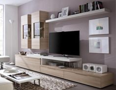 Contemporary Wall Storage System with TV Shelf, Display Cabinets and Low Cabinet…