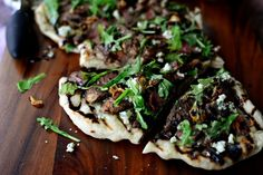 Steak + Blue Cheese Pizza with Crispy Fried Shallots and Honey Balsamic Drizzle