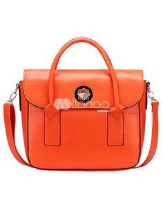 Orange PU Clasp Lock Tote Bag - Milanoo.com
