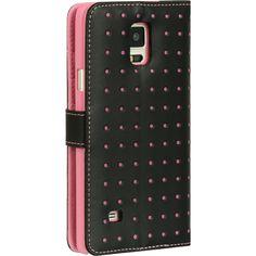 DW Premium Flip Stand Moda Dots Galaxy Note 4 Wallet Case - Pink