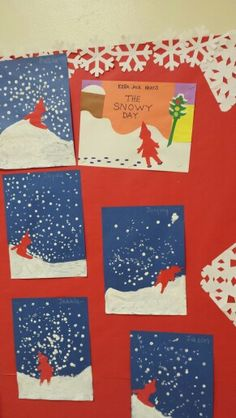 The snowy day PVA and shaving foam pictures. Preschool Books, Preschool Christmas, Preschool Crafts, Winter Activities, Preschool Activities, The Snowy Day Book, Winter Thema, Kindergarten Art Lessons, January Crafts