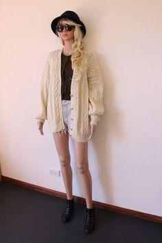 VINTAGE cream sweater CARDIGAN jumper CHUNKY Knit by Avashionista, $49.95