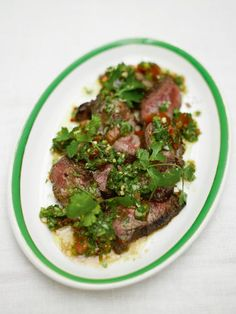 steak & salsa verde by Jamie Oliver - Very good, even without the mint (store was all out, none in garden). I used a food processor which made it sort of foamy, so I think it would be better chopped with a sharp knife as it suggests; still, tasty!