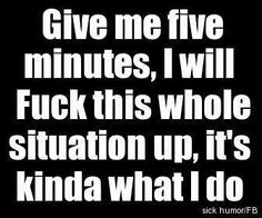 Give me five minutes, I will fuck this whole situation up, it's kinda what I do. yup that's not a stretch of the truth Give Me Five, Give It To Me, Just For You, Sarcastic Quotes, Me Quotes, Funny Quotes, Funny Sarcastic, All Meme, Youre My Person