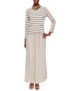 -5Y0X Джоан Васс Длинные плиссированные юбки с длинными рукавами в полоску Топ