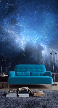 Nachthimmel mit Nebel Fototapete - Tiny Haus Familie Idee Night sky with fog Wall Mural / Living Room Decor, Bedroom Decor, Wall Decor, Living Rooms, Wall Murals Bedroom, Bedroom Sets, Entryway Decor, Master Bedroom, Wall Design