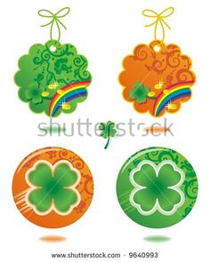 Four leaf clover tags and buttons - just add your text or logo (for vector EPS see image 9596032)