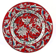 Tile plate in lotus design, Turkey Turkish Plates, Turkish Art, Turkish Tiles, Pottery Plates, Ceramic Pottery, Pottery Art, Islamic Tiles, Islamic Art, Ceramic Tile Art