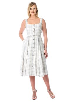 2ed1e90150 I  lt 3 this Cotton twill check belted shirtdress from eShakti Dress Anak