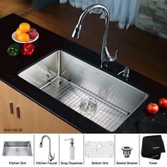 Kraus 32 Inch Undermount Single Bowl Stainless Steel Kitchen Sink with High Arch Pull Down Kitchen Faucet and Soap Dispenser