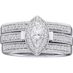 14k White Gold Vintage Style .63cttw Marquise Diamond Engagement Ring & Wedding Band