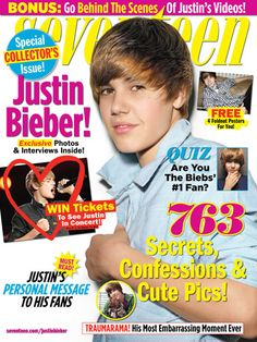 Justin Bieber on Seventeen Magazine Cover