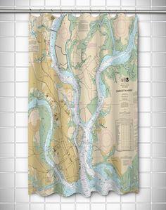 Nautical Chart Charleston, SC Polyester Shower Curtain