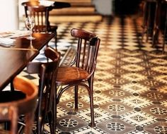 Hotel Du Nord Cafe -  I love this tile. I'd like to have it in my kitchen. (: