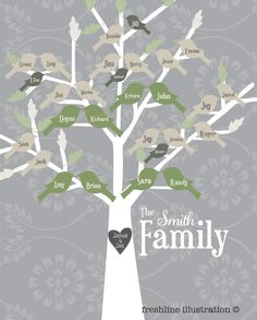 Family Tree Art Print  Generations of Birds on Tree by Freshline, $42.95