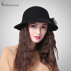 England Vintage Elegant Australia Pure Wool Hat Autumn Winter Casual Warm Cap With Diamond Flower FW201002