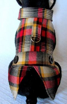 cool SMALL Dog Clothes BLACK  RED PLAID Outfit Harness Dress Coat Jacket WAG A LONG