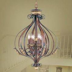 """Check out the Livex 8557-63 Villa Verona 32-3/4"""" 6-Light Foyer in Verona Bronze"""