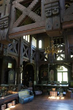 The interior of a 117 yr old Wisconsin replica of a Norwegian Stave church