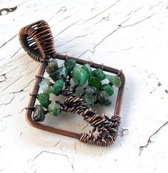 Tree of Life Pendant Copper Wire Wrapped Emerald by GarnetRoses, $26.00