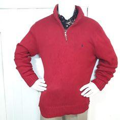 b5e6dae61 Polo Ralph Lauren Knit Sweater Red 1 4 Zip Mens Sz XL Mock Neck Christmas   PoloRalphLauren  14ZIPPULLOVER
