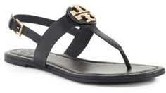 0447a5ef6d1 Tory Burch Bryce Leather Flats Thong Sandals Black 8 for sale online