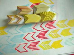 hand carved rubber stamps by talktothesun. set of 5 chevron arrow stamps. geometric pattern + shape stamp series for you diy crafts, card making + bullet journals. Diy And Crafts, Arts And Crafts, Paper Crafts, Stencil, Do It Yourself Inspiration, Stamp Carving, Geometric Patterns, Diy Birthday, Hand Carved