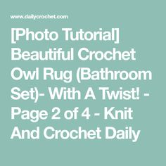 [Photo Tutorial] Beautiful Crochet Owl Rug (Bathroom Set)- With A Twist! - Page 2 of 4 - Knit And Crochet Daily Crochet Owls, Free Crochet, Knit Crochet, Crochet Edgings, Owl Bathroom Set, Bathroom Rugs, Easy Crochet Blanket, Crochet Blanket Patterns, Knitting Patterns
