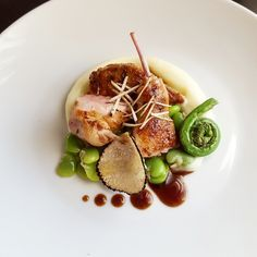 Roast Quail, Truffle, Cauliflower, Fiddle Heads, Broad Beans and Truffled Jus