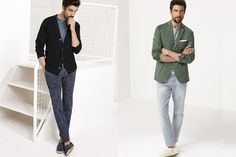 Left: Another example of tonal outfit with patterns and shades. Floral pattern with slacks and solid crew neck, not the look for me but interesting. Right: Tonal, solid wash jeans with striped crew, not sure if I'm sold on that shade of green to bring it all together but then again I couldn't imagine a color working better. Square handkerchief  and white shoes.