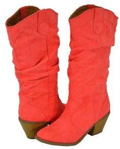 Qupid Muse-01Xx Coral Faux Suede Women Cowboy Boots   ~ 4.3 out of 5 stars ~ 48 customer ratings for the brand Qupid ~   Price:$45.99