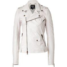 MCQ ALEXANDER MCQUEEN Chalk Lambskin Biker Jacket ($2,090) ❤ liked on Polyvore