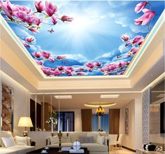 3d ceiling murals wall paper Blue sky and clouds Magnolia flower decor painting photo 3d wall murals wallpaper for living room #Affiliate