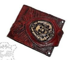 Men's wallet Genuine ostrich leather Auburn Color Steampunk Skull Revolver Roses by FamilySkinersStyle to Etsy