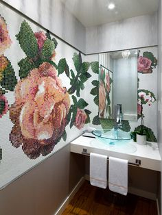 This graphic #mosaic #tile wall in a powder #bathroom creates a big visual statement in a very small space.