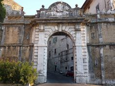 The entrance to a mountain top village in Italy called Veroli...It's actually a fortress!