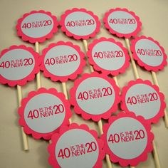 40th Birthday Cupcake Toppers  40 is the by CarasScrapNStampArt,